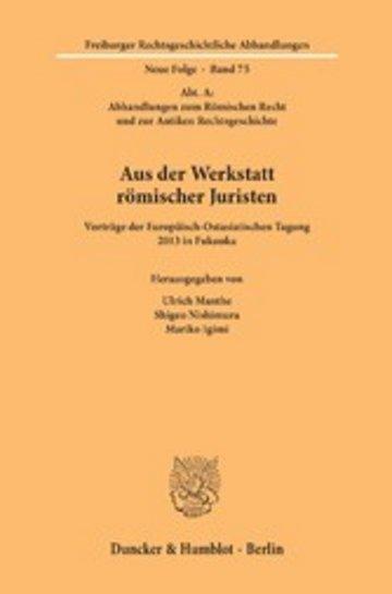 eBook Aus der Werkstatt römischer Juristen. Cover