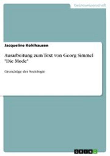 eBook Ausarbeitung zum Text von Georg Simmel 'Die Mode' Cover