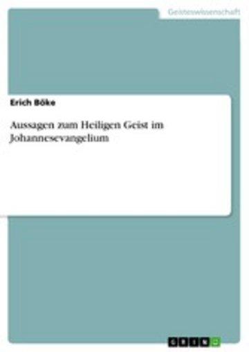 eBook Aussagen zum Heiligen Geist im Johannesevangelium Cover