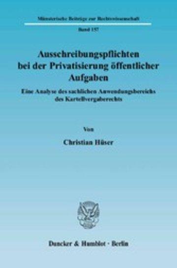 eBook Ausschreibungspflichten bei der Privatisierung öffentlicher Aufgaben. Cover