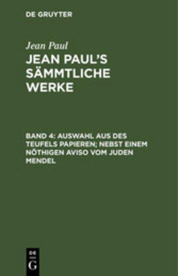 eBook Auswahl aus des Teufels Papieren; nebst einem nöthigen Aviso vom Juden Mendel Cover