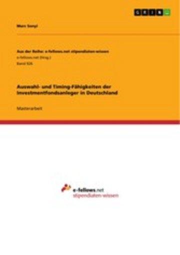 eBook Auswahl- und Timing-Fähigkeiten der Investmentfondsanleger in Deutschland Cover