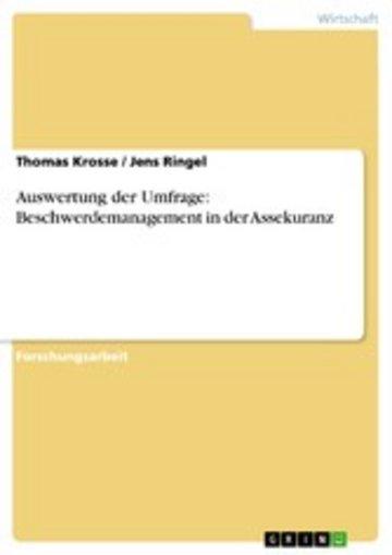 eBook Auswertung der Umfrage: Beschwerdemanagement in der Assekuranz Cover
