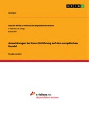 eBook Auswirkungen der Euro-Einführung auf den europäischen Handel Cover