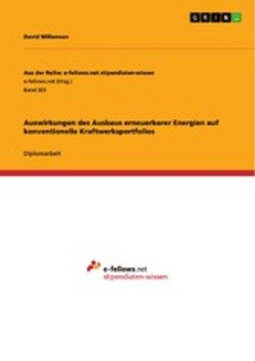 eBook Auswirkungen des Ausbaus erneuerbarer Energien auf konventionelle Kraftwerksportfolios Cover