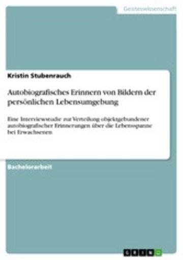 eBook Autobiografisches Erinnern von Bildern der persönlichen Lebensumgebung Cover