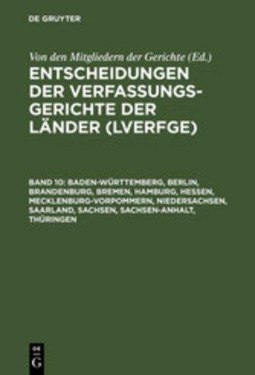 eBook Baden-Württemberg, Berlin, Brandenburg, Bremen, Hamburg, Hessen, Mecklenburg-Vorpommern, Niedersachsen, Saarland, Sachsen, Sachsen-Anhalt, Thüringen Cover