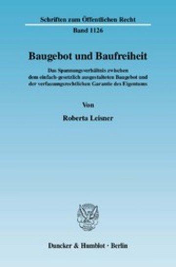 eBook Baugebot und Baufreiheit. Cover