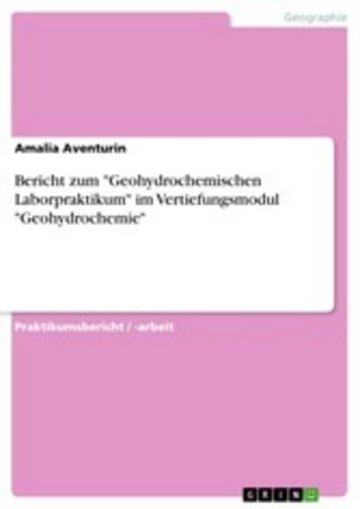 eBook Bericht zum 'Geohydrochemischen Laborpraktikum' im Vertiefungsmodul 'Geohydrochemie' Cover