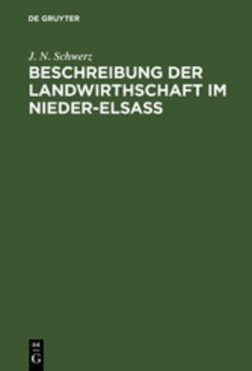 eBook Beschreibung der Landwirthschaft im Nieder-Elsaß Cover