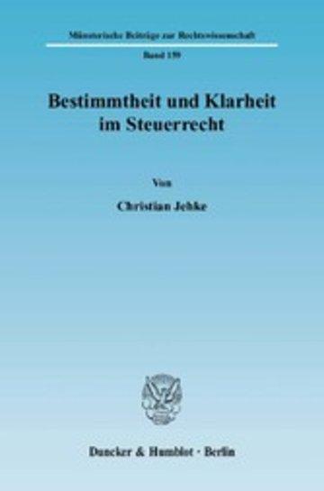 eBook Bestimmtheit und Klarheit im Steuerrecht. Cover