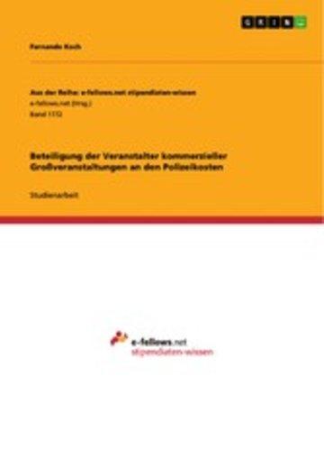 eBook Beteiligung der Veranstalter kommerzieller Großveranstaltungen an den Polizeikosten Cover