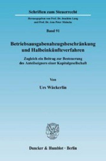 eBook Betriebsausgabenabzugsbeschränkung und Halbeinkünfteverfahren. Cover
