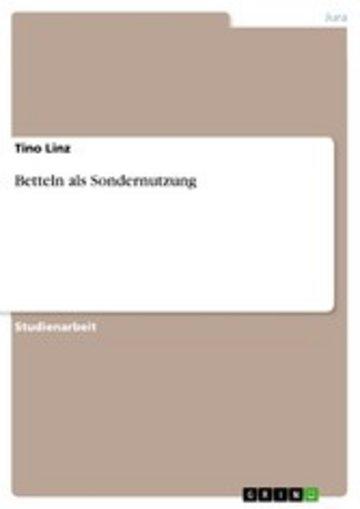 eBook Betteln als Sondernutzung Cover