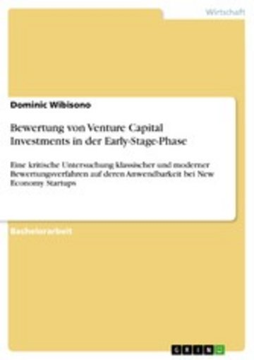 eBook Bewertung von Venture Capital Investments in der Early-Stage-Phase Cover