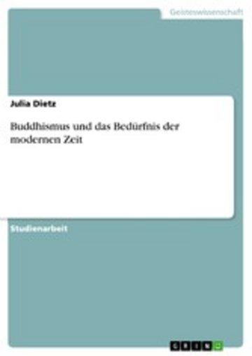 eBook Buddhismus und das Bedürfnis der modernen Zeit Cover