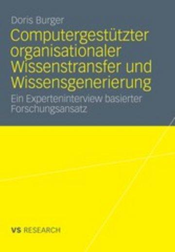 eBook Computergestützter organisationaler Wissenstransfer und Wissensgenerierung Cover