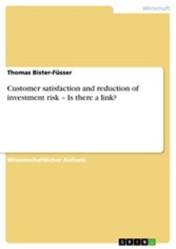 eBook Customer satisfaction and reduction of investment risk - Is there a link? Cover