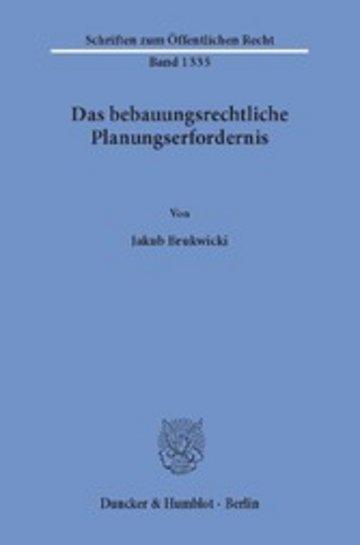 eBook Das bebauungsrechtliche Planungserfordernis. Cover