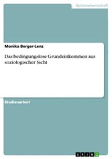 eBook Das bedingungslose Grundeinkommen aus soziologischer Sicht Cover