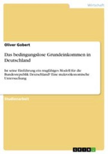 eBook Das bedingungslose Grundeinkommen in Deutschland Cover