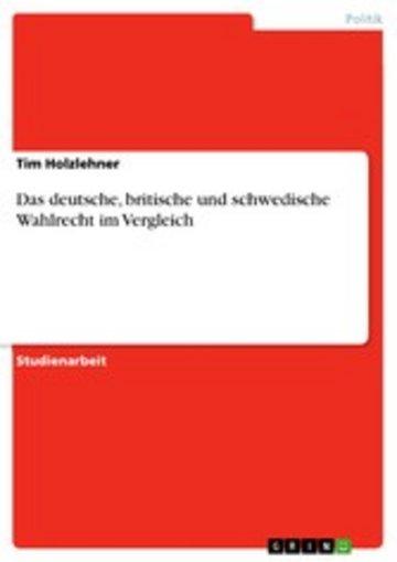 eBook Das deutsche, britische und schwedische Wahlrecht im Vergleich Cover