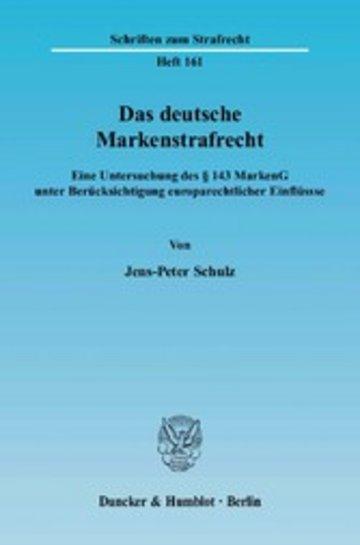 eBook Das deutsche Markenstrafrecht. Cover