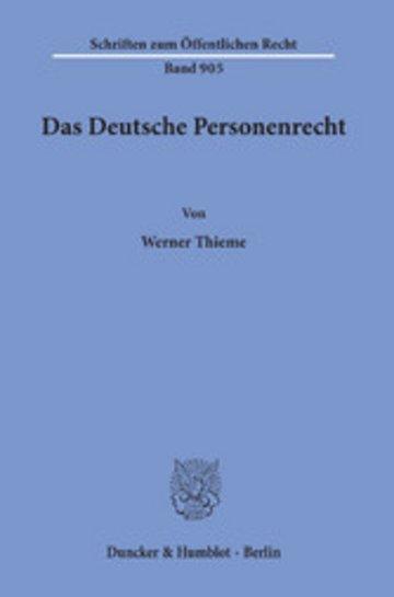 eBook Das Deutsche Personenrecht. Cover