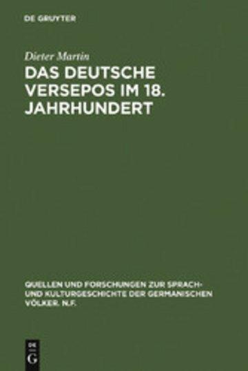 eBook Das deutsche Versepos im 18. Jahrhundert Cover