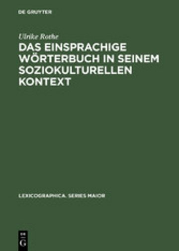 eBook Das einsprachige Wörterbuch in seinem soziokulturellen Kontext Cover