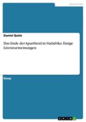 eBook Das Ende der Apartheid in Südafrika. Einige Literaturmeinungen Cover