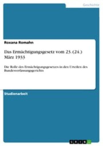 eBook Das Ermächtigungsgesetz vom 23. (24.) März 1933 Cover