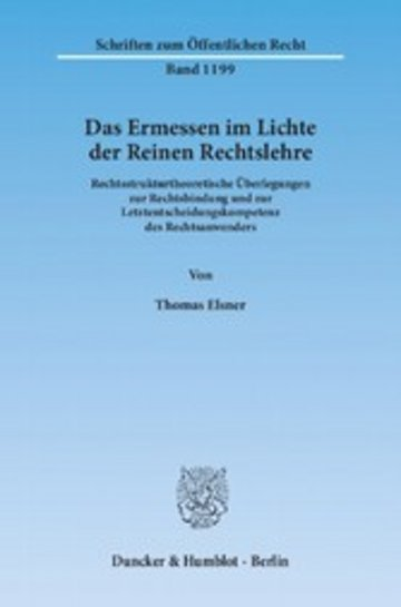 eBook Das Ermessen im Lichte der Reinen Rechtslehre. Cover