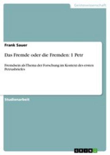 eBook Das Fremde oder die Fremden: 1 Petr Cover