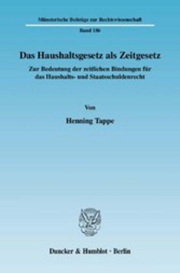 eBook Das Haushaltsgesetz als Zeitgesetz. Cover