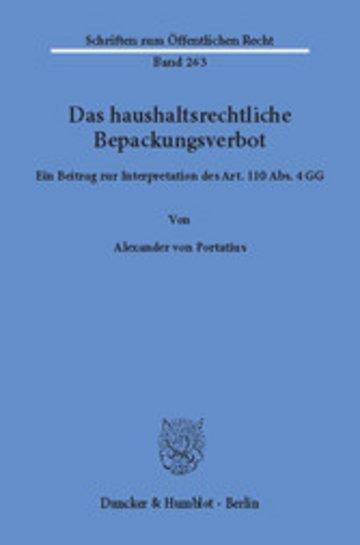 eBook Das haushaltsrechtliche Bepackungsverbot. Cover