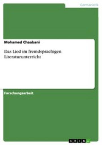 eBook Das Lied im fremdsprachigen Literaturunterricht Cover