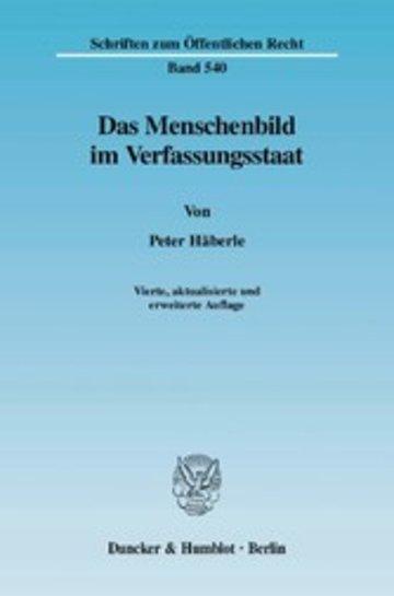 eBook Das Menschenbild im Verfassungsstaat. Cover