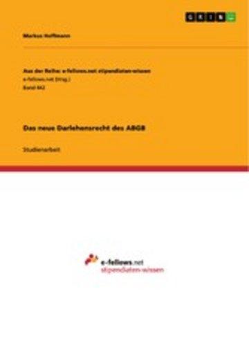 eBook Das neue Darlehensrecht des ABGB Cover