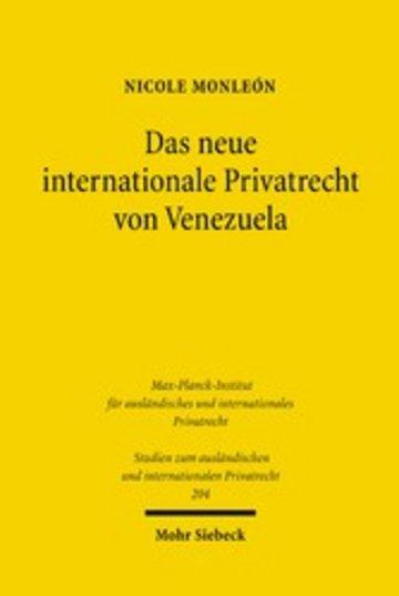 eBook Das neue internationale Privatrecht von Venezuela Cover