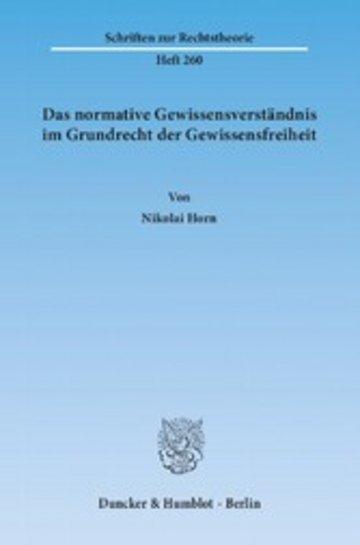 eBook Das normative Gewissensverständnis im Grundrecht der Gewissensfreiheit. Cover