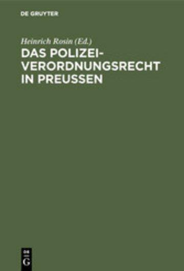 eBook Das Polizeiverordnungsrecht in Preußen Cover
