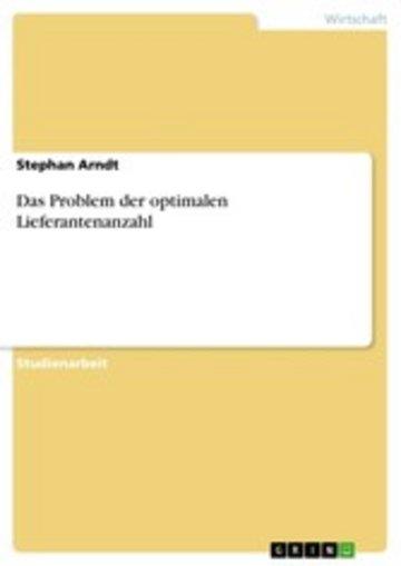eBook Das Problem der optimalen Lieferantenanzahl Cover