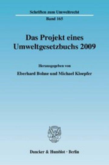 eBook Das Projekt eines Umweltgesetzbuchs 2009. Cover