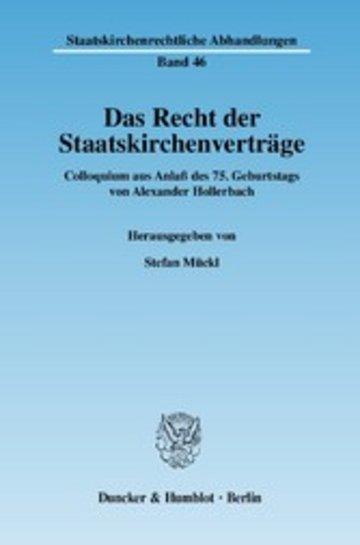 eBook Das Recht der Staatskirchenverträge. Cover
