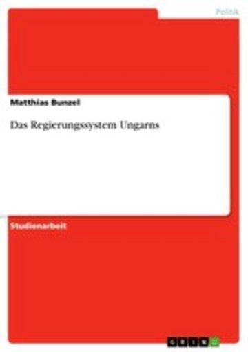 eBook Das Regierungssystem Ungarns Cover