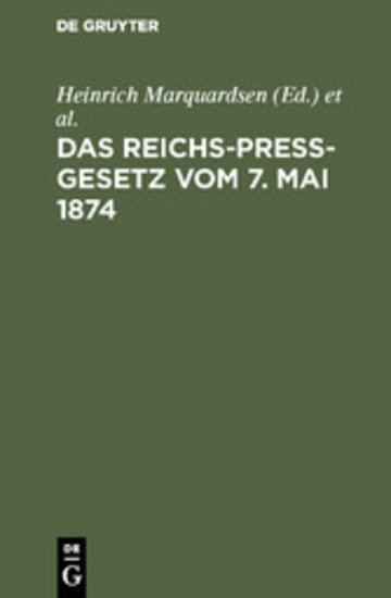 eBook Das Reichs-Preß-Gesetz vom 7. Mai 1874 Cover