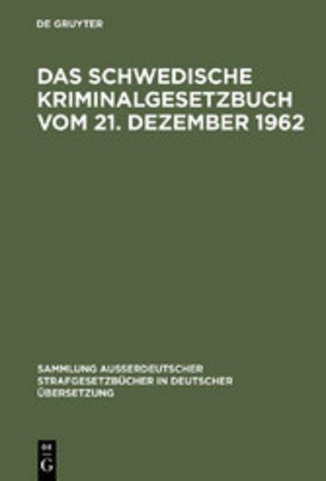 eBook Das schwedische Kriminalgesetzbuch vom 21. Dezember 1962 Cover