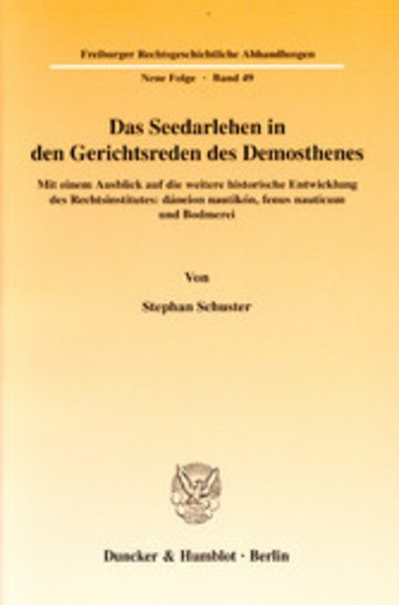 eBook Das Seedarlehen in den Gerichtsreden des Demosthenes. Cover