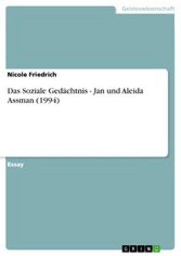 eBook Das Soziale Gedächtnis - Jan und Aleida Assman (1994) Cover